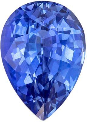 Ultra Beautiful Genuine Blue Sapphire Genuine Gemstone, 8.3 x 5.9 mm, Medium Cornflower Blue, Pear Cut, 1.68 carats