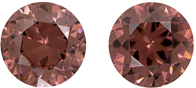 Ultra Beautiful Natural Brown Zircon Well Matched Pair, Round Cut, Rosey Copper Brown, 9 mm, 7.54 carats