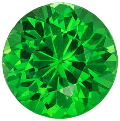Ultra Beautiful Natural Green Tsavorite Loose Gem, 4.9 mm, Vivid Grass Green, Round Cut, 0.57 carats