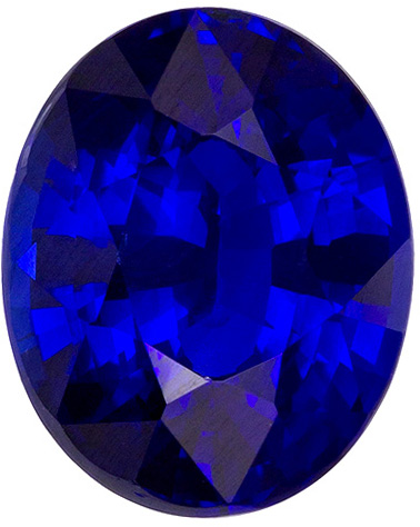 Ultra Blue Sapphire Gem Fine Stone Oval Cut with Intense Rich Blue Color in 9.3 x 7.5 mm, 3.01 carats