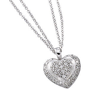 Unbelievable 1/2 ct Pave Diamond Heart Shaped Pendant in 14k White Gold - FREE Chain - SOLD