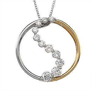 Unbelievable 1/2ct 14k White and Yellow Gold Yin Yang Pendant With