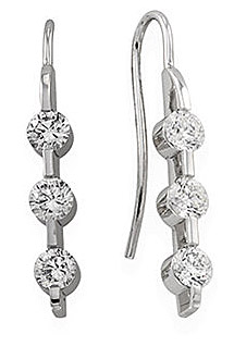 Unbelievable 1.375ct Three Stone Wire Back Earrings in 14k White Gold