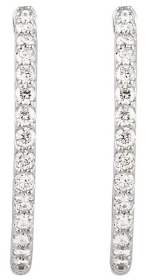Unbelievable 2 carat Diamond Inside-Outside Hoop Earrings in 14k White Gold - 2.00 - 2.10 mm Stones