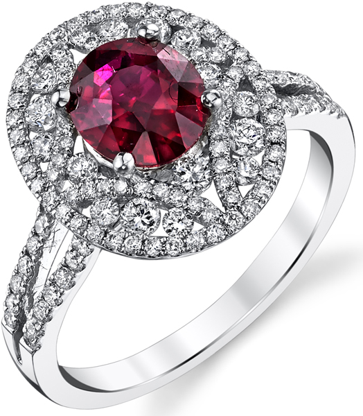 Unbelievable Hand Crafted 1.57ct Oval Mozambique Ruby Ring in 18kt White Gold set with .5ctw Diamond Accents