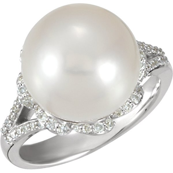 Unbelievable Large 13ct 12mm Button-Full Genuine South Sea Cultured Pearl 14k White Gold Ring - .33ct Diamond Accents