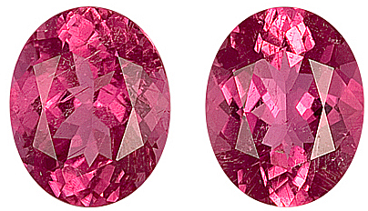Unbelievable Pair of Gorgeous Pink Tourmaline Genuine Gemstones for SALE,  Oval Cut, 11 x 8.8 mm, 6.95 carats