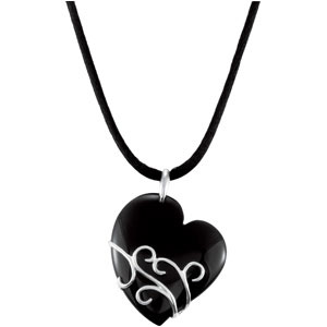 Uncommon 49.02 37 x 31.5mm Onyx Heart Pendant skillfully set in Sterling Silver for SALE - FREE Chain Included