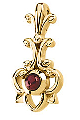 Uncommon Cabochon Round Cut Ruby Pendant set in 14 karat Yellow Gold - Ornate Floral Design - FREE Chain - SOLD