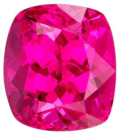 Unheated 1.09 carats Pink Spinel Loose Gemstone in Cushion Cut, Vivid Hot Pink, 6 x 5.2 mm