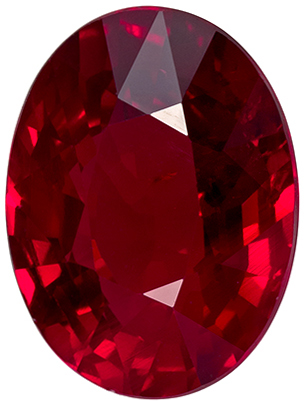 Unheated 3.06 carats Ruby Loose Gemstone Oval Cut, Rich Red, 9.9 x 7.5 mm