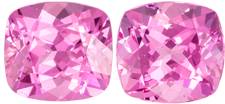 Unheated 5.8 x 5.4 mm Pink Spinel Well Matched Gem Pair in Cushion Cut, Medium Pink, 1.91 carats