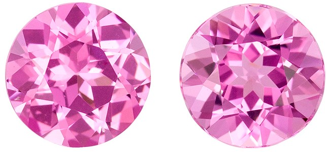 Unheated 5.9 mm Pink Spinel Matched Gemstone in Pair in Round Cut, Intense Pink, 1.75 carats