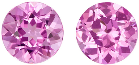 Unheated 5.9 mm Pink Spinel Matched Gemstone Pair in Round Cut, Intense Pink, 1.75 carats