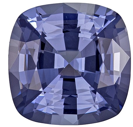 Unheated 8.9 mm Blue Spinel Genuine Gemstone in Cushion Cut, Steely Lavender Blue, 3.09 carats