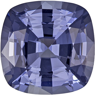Hard to Find Blue Spinel Loose Gem, 8.9 mm, Steely Lavender Blue, Cushion Cut, 3.09 carats
