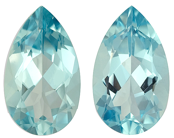 Unheated Dazzling Pear Shape Bright Greenish Blue Aquamarine Matched Pair, 16.9 x 10.0mm, 11.73 carats