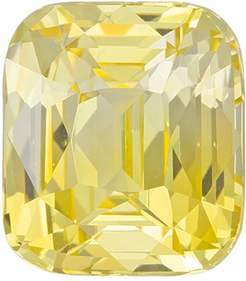 Unheated GIA Certified Yellow Sapphire Genuine Gemstone, 10.2 x 9.03 x 6.34 mm, Pure Yellow, Cushion Cut, 6 carats