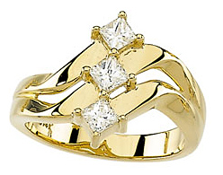Unique 0.60 Carat Total Weight 3.25 mm Diamond Right Hand Ring set in 14 karat Heavy Yellow Gold
