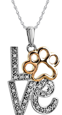 Unique .05ct 2-Tone 14k Yellow Gold & Sterling Silver Paw Print Love Pendant for SALE - Pave .9-1mm Diamond Detailing - Free Chain Included