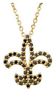 Unique 1/4ct Black Diamond Fleur-de-Lis Shaped Pendant - Choose 14k White or Yellow Gold - FREE Chain