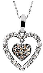 Unique 1/4ct Brown and White Diamond Double Heart Pendant in 14k White Gold - FREE Chain
