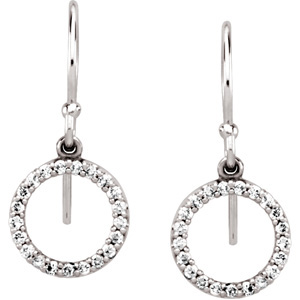 Unique 1/5 ct tw Diamond Circle Earrings expertly et in 14 karat White Gold for SALE - Contemporary Style - 1.00 mm Stones