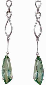 Unique 15.4ct 26x9mm Fancy Shaped Green Quartz Earrings with Sterling Silver Detailing