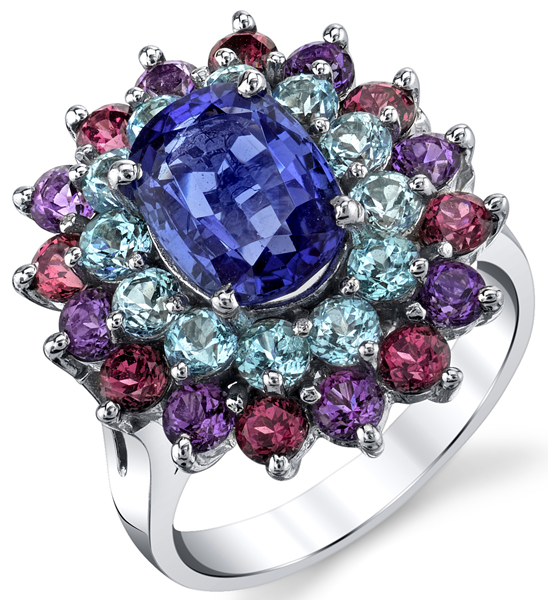 Unique 2.00ct Tanzanite 14kt White Gold Ring - Amethyst, Garnet & Blue Topaz Accents