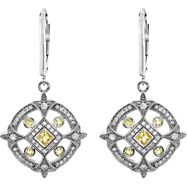 Unique .618ct Canary Yellow Sapphire & Diamond Medallion Leverback Earrings in 14k White Gold