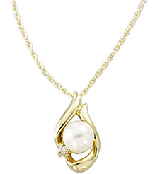 Unique 6mm Akoya Cultured Pearl & Diamond Necklace in 14 karat Yellow Gold with FREE Gold Chain