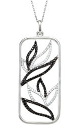 Unique .93ct 1.2mm Black Spinel & 1/3 ct tw Diamond Pendant or Necklace expertly set in Sterling Silver for SALE
