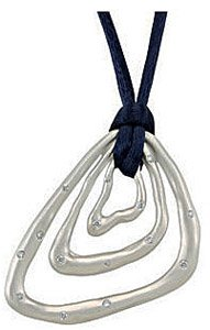Unique and Abstract Sterling Silver Pendant with Inlaid 1/5ct Diamond Accents - Choose Color of Silk Cord