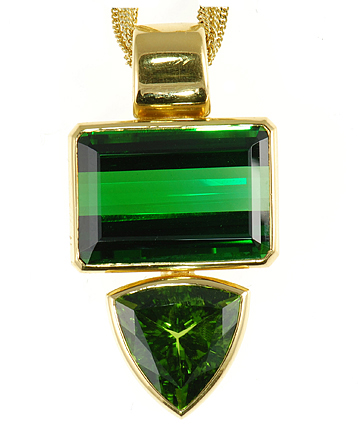 Unique and Amazing Custom Pendant - Emerald and Trillion Cut Green Tourmalines - 22 kt Yellow Gold - SOLD