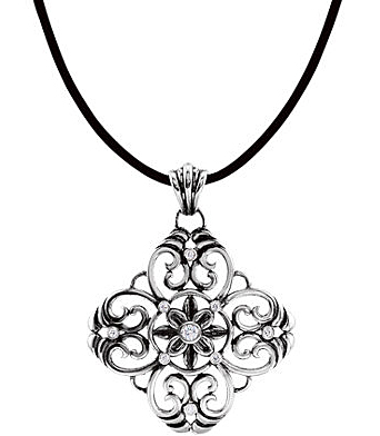 Unique and Beautiful Filigree Design Pendant in Sterling Silver With .33ct Diamond Accents for SALE - FREE Chain Included With Pendant