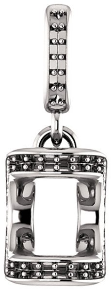 Unique Bar Set Accented Soiltaire Pendant Mounting for Asscher Centergem Sized 5.00 mm to 10.00 mm - Customize Metal, Accents or Gem Type