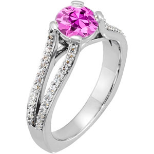 Unique & Fine Split Shank 4-Prong with 1 carat 6mm Genuine Pink Sapphire Gemstone Engagement Ring - Diamond Accents Along Bands