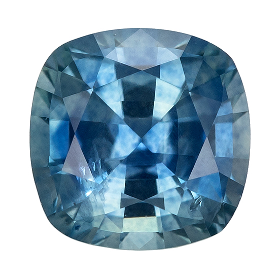 Unique Beauty  Blue Green Sapphire Genuine Gemstone, 1.16 carats, Cushion Shape, 5.9 mm