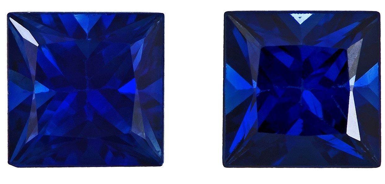 Truly Stunning  Blue Sapphire Genuine Gemstone, 1 carats, Princess Shape, 4.2 mm Matching Pair