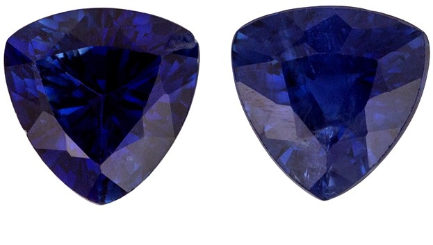 Unique Beauty Blue Sapphire Genuine Gemstone, 0.79 carats, Trillion Shape, 4.5 mm Matching Pair