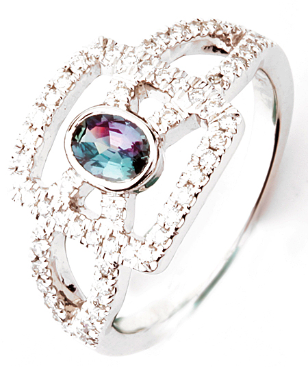 Unique Bezel Set Brazilian .37cts, 5.75 x 4.25 mm Alexandrite Ring With a Diamond Studded Intricate Mounting