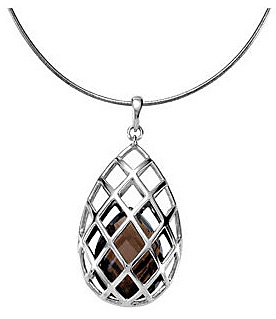 Unique Cage Style Sterling Silver Pendant With a 17.83ct 20x15mm Pear Drop Shape Smokey Quartz Inside - FREE Chain With Pendant