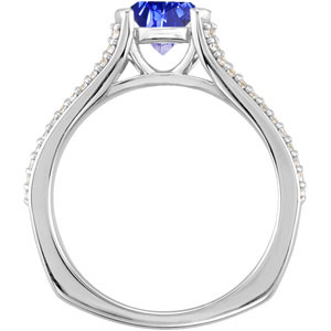 Unique Design! - Split Shank 4-Prong Genuine Vivid 1 carat  6mm Blue Sapphire Gemstone Engagement Ring - Diamond Accents Along Bands
