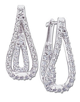 Unique Diamond Studded Multi-Strand Hoop Earrings with a Twist - 14k White Gold - SOLD