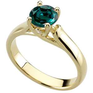 Unique  Woven Prong Gold Ring set with Real GEM 0.55 ct  4.80 mmAlexandrite & Diamond Accents