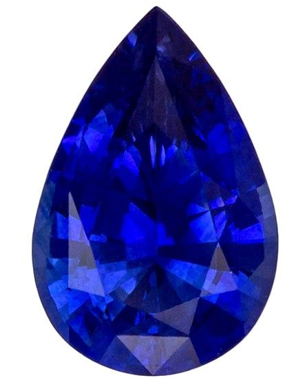 Unique Gem 0.94 carats Sapphire Loose Gemstone in Pear Cut, Intense Blue, 7.9 x 5.2 mm