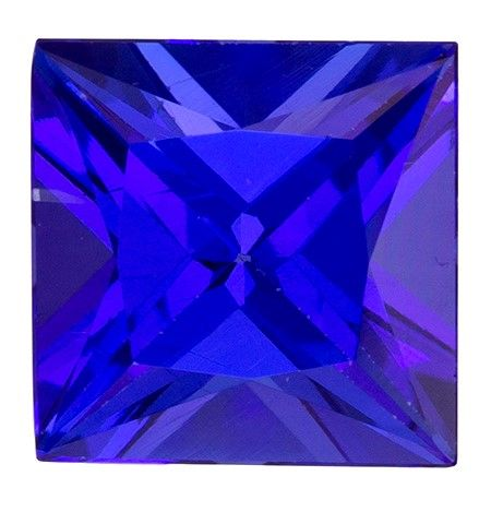 Unique Gem 1.37 carats Tanzanite Loose Genuine Gemstone in Princess Cut, Blue Purple, 6.4 mm