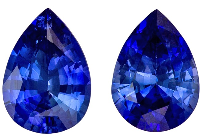 Unique Gem 1.52 carats Sapphire Loose Gemstone Pair in Pear Cut, Rich Blue, 7 x 5 mm