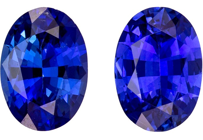 Unique Gem 1.6 carats Sapphire Loose Genuine Gemstone Pair in Oval Cut, Intense Blue, 6.8 x 4.9 mm