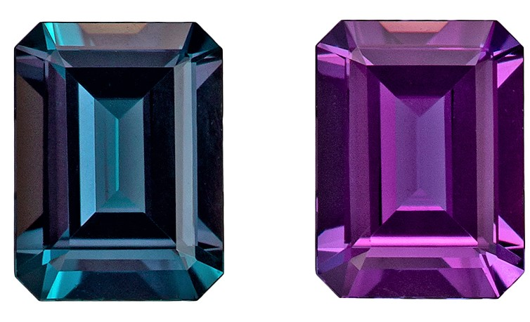 Unique Gem 4.6 x 3.5 mm Natural Fine Alexandrite Gemstone in Emerald Cut, Rich Teal to Burgundy Eggplant, 0.29 carats